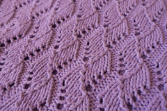 Lilac handmade thick lacy knit fabric Royalty Free Stock Image