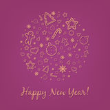Lilac Happy New Year Card Stock Images