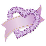Lilac heart with ribbon Royalty Free Stock Image