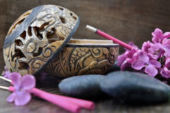 Lilac  incense on burner Stock Photography
