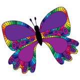 Lilac isolated butterfly with abstract pattern on the wing for t Royalty Free Stock Images