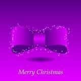 Lilac Kerstmisachtergrond met boog en sterren Royalty-vrije Stock Afbeeldingen