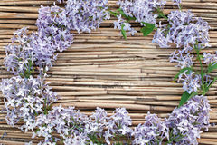 Lilac kroon op droge rietachtergrond Royalty-vrije Stock Fotografie