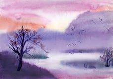 Lilac landscape Royalty Free Stock Image