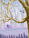 Lilac landscape with trees bench and magpies Stock Photo