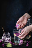Lilac lemonade water with lemon. Femail hands put ice cubes with flowers into glass of lilac lemonade with lemon. Glass jar of sugared lilac flowers and pitcher stock images