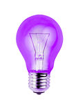 Lilac light bulb isolated on white background. Royalty Free Stock Images