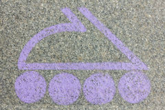 Lilac logo in the form of a roller skate Stock Image