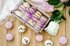 Lilac macaroons with rose and gift box. top view Royalty Free Stock Images