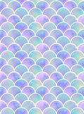 Lilac mermaid`s scales seamless pattern. Watercolor rainbow scales of mermaid. mint, blue and lilac scales. colorful seamless pattern royalty free stock images