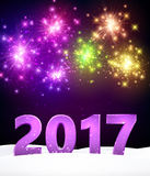 Lilac 2017 New Year background. Lilac 2017 New Year background with colorful fireworks. Vector illustration Stock Images