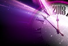 Lilac 2018 New Year clock background. Royalty Free Stock Photography