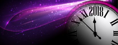 Lilac 2018 New Year clock banner. Royalty Free Stock Photos