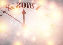 Lilac 2018 New Year background. Lilac 2018 New Year shining background with clock. Vector illustration Stock Photo