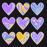 Lilac, orange and blue heart collection Royalty Free Stock Photography