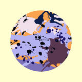 Lilac orange brown ink splashes round frame template Stock Photography