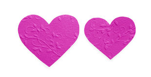 Lilac patterned paper hearts isolated on white background, valentine day Royalty Free Stock Photography