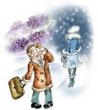 Lilac perfume fragrance. Comic illustration of a man enjoying lilac fragrance of woman`s perfume Stock Photography