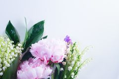 Lilac, pink peonies and lilly of the walley. Floral flat lay scene of fresh flowers - lilac, peonies and lilly of the walley flowers on white background Stock Photos