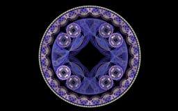 Lilac rond patroon op een zwarte achtergrond Royalty-vrije Stock Foto