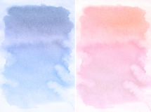 Lilac and rose spot, watercolor abstract hand painted background. Rose Quartz and Sernity Tint Watercolour Texture. Pastel Colored Palette Stock Image