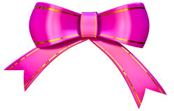 Lilac satin gift bow Stock Photos