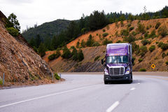 Lilac semi truck with trailer is moving along winding highway on Stock Image
