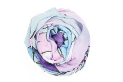 A lilac silk scarf associated rose. Isolated on white background Royalty Free Stock Image