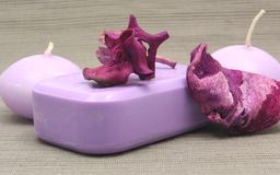 Lilac soap with decoration Royalty Free Stock Photo