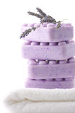 Lilac soap, towel and lavander Stock Images