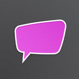 Lilac speech bubble for talk at trapezoidal shape Royalty Free Stock Image