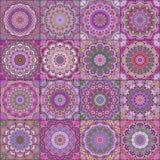 Lilac Square Tile Boho Pattern Stock Photo