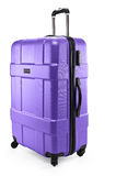 Lilac suitcase plastic half-turned Stock Photos