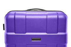 Lilac suitcase plastic. upper part of the handle Stock Image