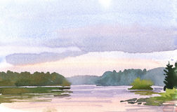 Lilac sunset. Watercolor drawing of the sunset over the lake Royalty Free Stock Images