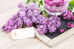 Lilac on table with empty tag Royalty Free Stock Photography