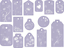 Lilac tags with flowers Stock Photos