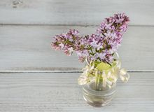 Lilac in a transparent vase on a wooden background. Template for creative projects Stock Images