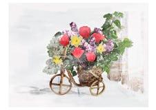 Lilac tulpen van het Cachepotboeket narcissuses Stock Fotografie
