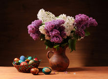 Lilac in vase Stock Photos
