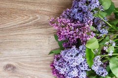 Lilac in vase. Fresh purple lilac flowers on wooden background with copy space Royalty Free Stock Photo