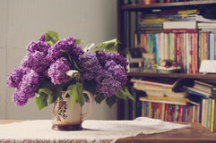 Lilac in a Vase near the library Royalty Free Stock Photos