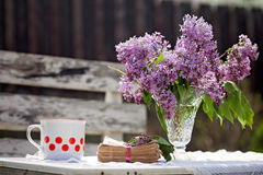 Lilac in a vase on a table, book and coffee mug next to him Royalty Free Stock Images