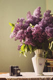 Lilac in a Vase and toy camera Stock Image