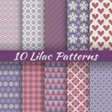Lilac verschillende vector naadloze patronen (vierkant Stock Fotografie