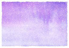 Lilac, violet winter watercolor horizontal gradient background. Winter watercolor horizontal gradient background with falling snow splash texture. Christmas, New royalty free illustration