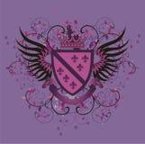 Lilac wapenschild van Grunge met fleur-DE-Lis Stock Foto's