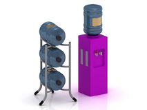 Lilac water cooler with bottles Royalty Free Stock Photography