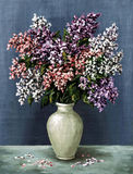 Lilac in a white amphora. Picture oil paints on a canvas: a bouquet of lilac in a white amphora Royalty Free Stock Images