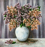 Lilac in a white pot Stock Images